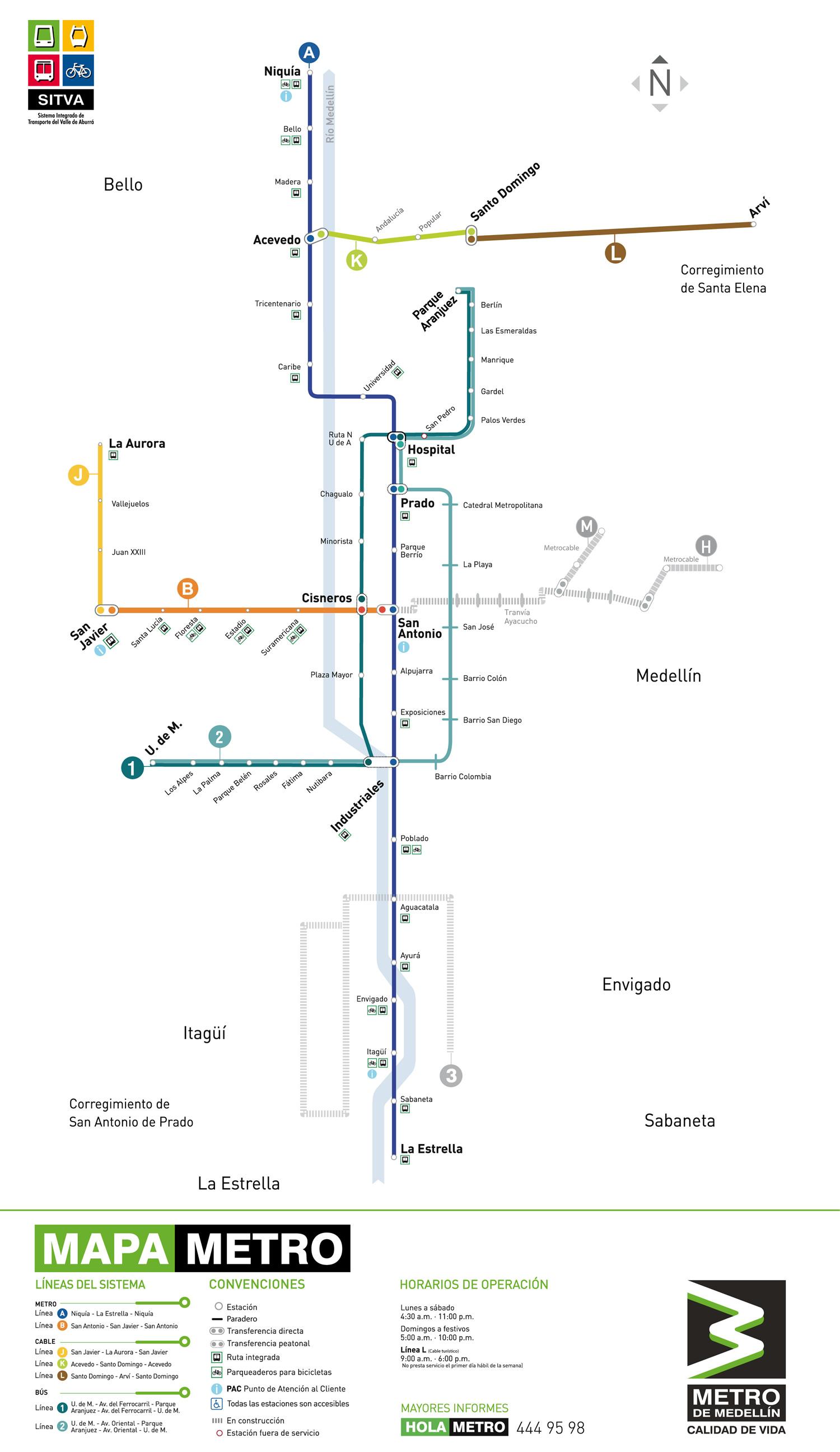 Santo Domingo Metro Map.Medellin Metro Medellincolombia Co