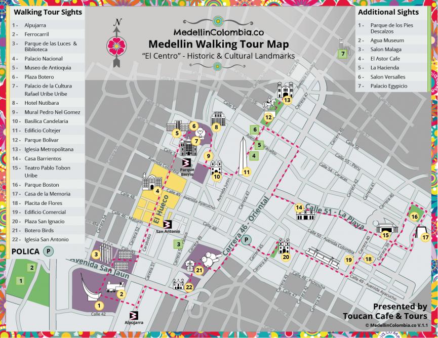 Medellin Walking Tour Map